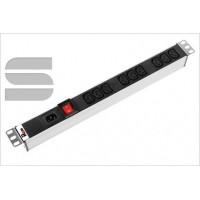 Вертикальный блок розеток Rem-16 с выкл., 16 IEC 60320 C13, 12 C19, вход C20 16A, алюм., 42-48U