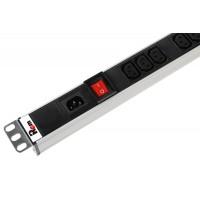 Вертикальный блок розеток Rem-16 с выкл., 15  Shuko, 10 C13, вход  IEC 60320 C20 16A, алюм., 42-48U