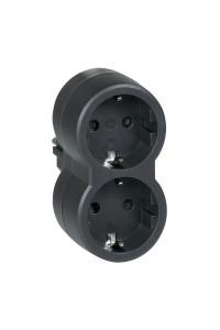 Многорозеточный блок 2x2К+3 - серия Элиум - с кронштейном для крепления к стене - 16 А - верт. подключение - черный