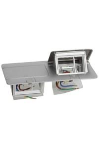 Выдвижной розеточный блок - неукомплектованный - IP 40 - 6 модулей - алюминий