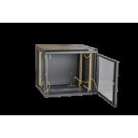 """Настенный разборный шкаф TLK 19"""", 12U, стеклянная дверь, Ш600хВ569хГ600мм, 2 пары монтажных направляющих, черный"""