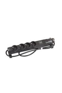 Многорозеточный блок с 2хUSB+4x2К+З - с кабелем длиной 1,5 м черный