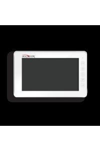 """Домофон 7""""; Сенсорные кнопки; разрешение 800(Г)x480(В); PAL/NTSC; Hands Free; Подключение: 2 выз. панели, 4 монитора в параллели, 2 камеры; Подключение кнопки звонка; Питание AC 100-220В (встроенный БП), от внешнего БП DC 14.5 В; 205x128x18мм"""