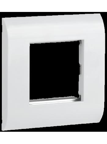 ITK Лицевая рамка для мод. Mosaic 80х80мм мет. суппорт бел.,CS5-12M-M
