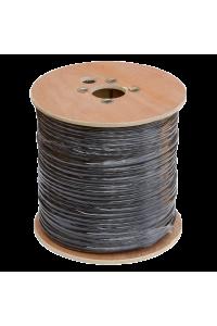Кабель NETLAN коаксиальный, RG-11 (75 Ом), одножильный, CCS (омедненная сталь), внешний, PE до -40C, с одножильным тросом, черный, 305м
