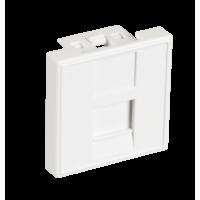 Вставка NETLAN типа Mosaic 45x45мм, 1 порт, под модули-вставки типа Keystone, со шторкой, белая, уп-ка 10 шт.