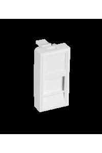 Вставка NETLAN типа Mosaic 22,5x45мм, 1 порт, под модули-вставки типа Keystone, со шторкой, белая, уп-ка 10 шт.