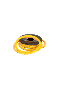 """Маркер NIKOMAX кабельный, трубчатый, эластичный, под кабели 3,6-7,4мм, буква """"A"""", желтый, уп-ка 500шт."""