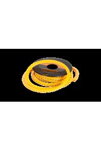 """Маркер NIKOMAX кабельный, трубчатый, эластичный, под кабели 3,6-7,4мм, буква """"E"""", желтый, уп-ка 500шт."""