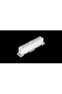 Плинт NIKOMAX 10 пар, Кат.3 (Класс C), 16МГц, контакты типа KRONE, размыкаемый, маркировка 0...9, крепление под кронштейн и круглые направляющие, белый, уп-ка 10шт.