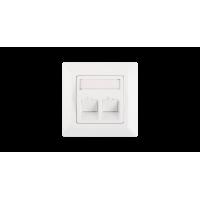 Лицевая панель во вставкой NIKOMAX, немецкий формат, 80x80мм, 2 порта, под модули Keystone, с подрамником, со шторками, наклонная, белая