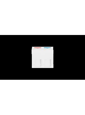 Вставка NIKOMAX, французский формат Mosaic, 45x45мм, 2 порта, под модули Keystone, наклонная, со шторками, белая купить с доставкой в Ростове-на-Дону - Смарт