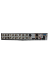 Мультигибридный видеорегистратор 16-канальный; H.264/265; AHD/TVI/CVI: 16x1080N@12к/с, 8x1080N@12к/с+8IPx960p; Видеовыходы - HDMI, VGA; Аудио G.711А - 2/1 RCA; HDD - 1 SATA (до 10ТБ); Сеть - 100 Мб (RJ45); RS-485; UTC(Coax); DC 12В (2А)