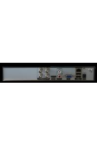 Мультигибридный видеорегистратор 4-канальный;  H.264/H.265/H.265+; AHD:4*5Мп (6к/с); 4*4Мп (8к/с); 2*4Mп(AHD)+2*4Mп (IP); IP:16*1080P; 9*1080P; 16*960P; 4*5M; Воспр.одновр. - до 4 каналов; Видеовыходы - HDMI (4K), VGA; Аудио G.711А - 1/1 RCA; HDD - 1 SATA (до 10ТБ); Сеть - 100 Мб (RJ45); Coax; DC 12В (2А)