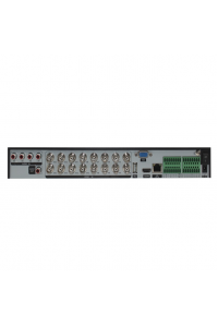 Мультигибридный видеорегистратор 16-ти канальный;  AHD/IP/TVI/CVI/SD; H.264/H.264+/H.265/H.265+; 16x5M@14к/с (5 в 1); 16x4K@8к/с (AHD); 4x4K@15к/с (AHD); 4IPx5M+4AHDx5M; 32IPx1080P; 16IPx3M; 8IPx5M; воспроизведение одновременно - до 16 каналов; видеовыходы - HDMI(4K), VGA; Аудио G.711А - 4/1 RCA; Трев. вх/вых - 16/4; HDD - 2 SATA (до 10ТБ); Сеть - 1Гб (RJ45); RS-485; Coax; DC 12В (4А)