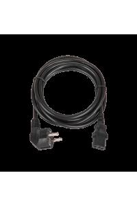 Кабель питания TLK, вход - евровилка с заземлением (Schuko, CEE 7/7) , выход - разъём C13 (IEC 60320),  3x0.75мм2, 3 м, 250В 6A, черный