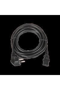 Кабель питания TLK, вход - евровилка с заземлением (Schuko, CEE 7/7) , выход - разъём C13 (IEC 60320),  3x0.75мм2, 5 м, 250В 6A, черный