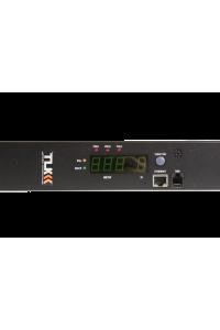 Блок  контролируемых электрических розеток TLK, SW - Switched, (включение и отключение каждой розетки, измерение общего потребления и отправка показаний через LAN), Вертикальный, 21 розеток C13, 3 розетки С19, макс. нагрузка 32 А, шнур питания 3 м., Вилка 1-фазная 32А 250В, IEC 60309, Защита 16А,  цифровое измерение силы тока на входе, металлический корпус, макс. мощность 8000 Вт, 1778*44*56 мм, цвет черный.