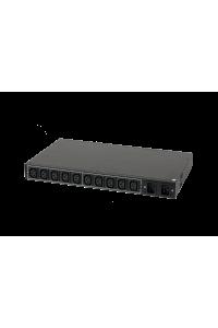 """Блок  контролируемых электрических розеток TLK, 19"""", AT - ATS, Автоматическое переключение питания между вводными линиями, включение и отключение каждой розетки, измерение потребления каждой розетки и отправка показаний через LAN, 10 розеток C13, макс. нагрузка 16 А, Счетчик электроэнергии кВт*ч, 2 ввода питания,  2* шнур питания 3 м., 2*вилка С20, металлический корпус, макс. мощность 4000 Вт, 432*44,45*260 мм, цвет черный."""