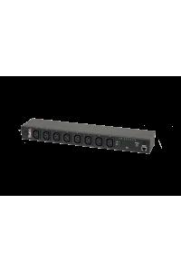 """Блок  контролируемых электрических розеток TLK, SW - Switched, (включение и отключение каждой розетки, измерение общего потребления и отправка показаний через LAN), 19"""", 8 розеток C13, макс. нагрузка 10 А, шнур питания 3 м., вилка С14, цифровое измерение силы тока на входе, металлический корпус, макс. мощность 2500 Вт, 432*44*90 мм, цвет черный."""