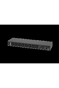 """Блок  контролируемых электрических розеток TLK, SW - Switched, (включение и отключение каждой розетки, измерение общего потребления и отправка показаний через LAN), 19"""", 8 розеток C13, макс. нагрузка 16 А, шнур питания 3 м., вилка С20, цифровое измерение силы тока на входе, металлический корпус, Счетчик кВт*ч, макс. мощность 4000 Вт, 432*44,45*125 мм, цвет черный."""